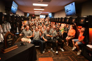 f0d1612f766 Campbell baseball players at a watch party. Photo courtesy Campbell  Athletics Bennett Scarborough